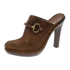 Gucci Brown Suede Horsebit Platform Clog Mules Size 39