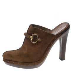 62aef3def Gucci Brown Suede Horsebit Platform Clog Mules Size 39
