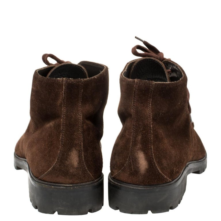 Men's Gucci Brown Suede Lace Up Ankle Boots Size 45 For Sale
