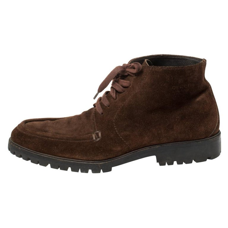 Gucci Brown Suede Lace Up Ankle Boots Size 45 For Sale