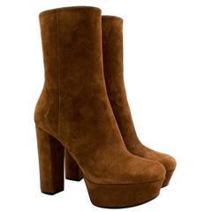 Gucci Brown Suede Platform Heeled Boots - Size EU 39