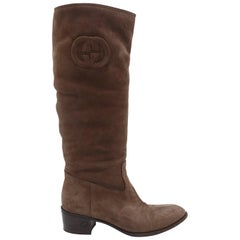 Gucci Brown Suede Shearling Cigar Boots