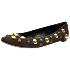 Gucci Brown Suede Studded 'Babouska' Flats Size 37.5