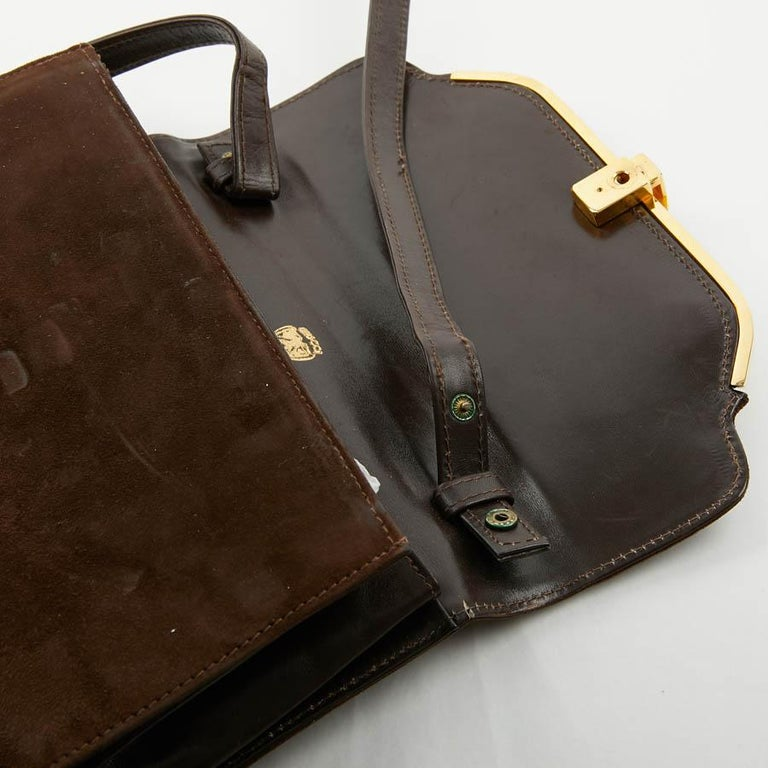 GUCCI Brown Suede Vintage Bag For Sale 5