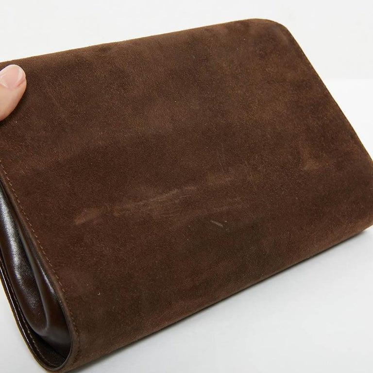 GUCCI Brown Suede Vintage Bag For Sale 8