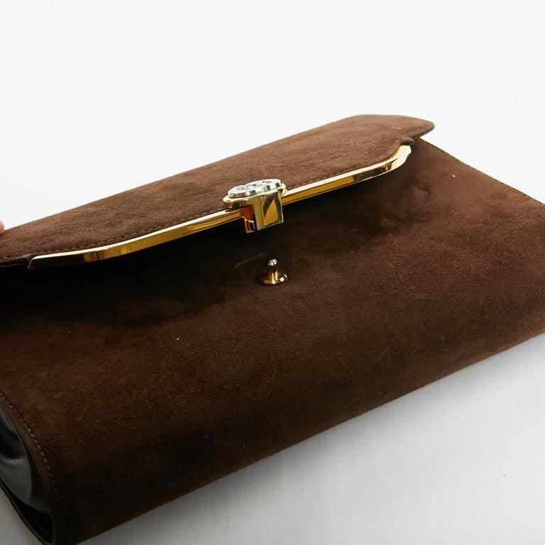 GUCCI Brown Suede Vintage Bag For Sale 9
