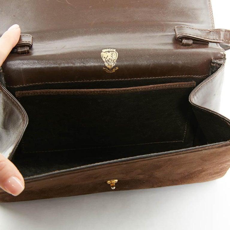 GUCCI Brown Suede Vintage Bag For Sale 2