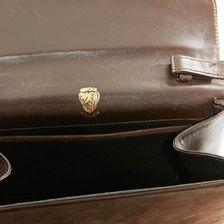 GUCCI Brown Suede Vintage Bag For Sale 3