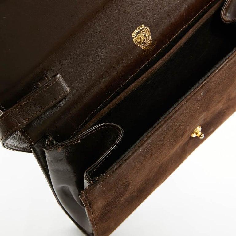 GUCCI Brown Suede Vintage Bag For Sale 4