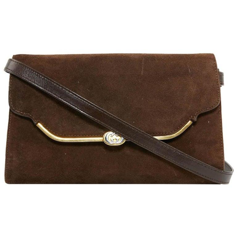 GUCCI Brown Suede Vintage Bag For Sale