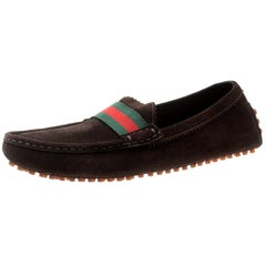 Gucci Brown Suede Web Trim Loafers Size 38.5