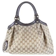 "Gucci Brown/Tan Canvas/Leather Sukey ""GG"" Monogram Tote Bag"
