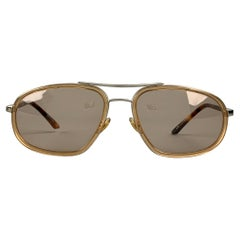 GUCCI Brown Tortoiseshell Acetate & Metal Oval Sunglasses