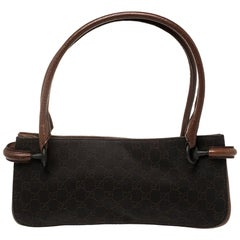 Gucci Brown Two Tone GG Canvas and Leather Shoulder Bag