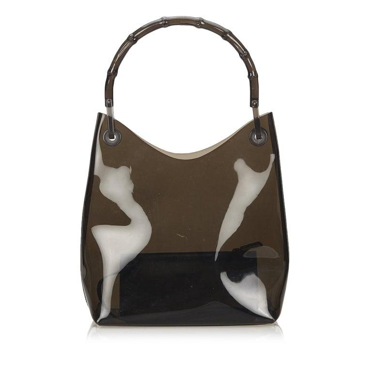 Gucci Brown Vinyl Transparent Bamboo Handbag  For Sale 5