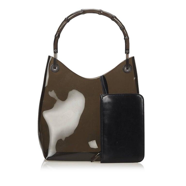 Black Gucci Brown Vinyl Transparent Bamboo Handbag  For Sale