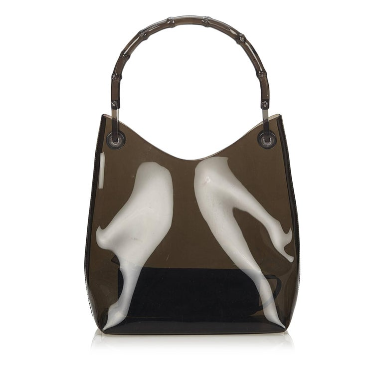 Gucci Brown Vinyl Transparent Bamboo Handbag  In Good Condition For Sale In Sheung Wan, HK
