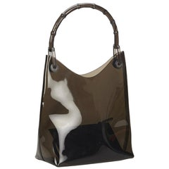 Gucci Brown Vinyl Transparent Bamboo Handbag