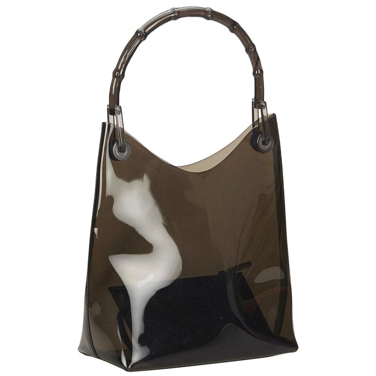 Gucci Brown Vinyl Transparent Bamboo Handbag  For Sale