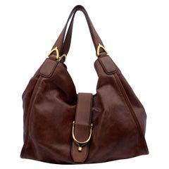Gucci Brown Washed Leather Stirrup Hobo Bag Shoulder Bag