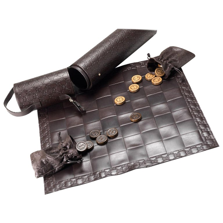 Gucci Brown Wood Leather Men's Women's Travel Checkers Board Game W/Storage Case