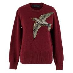 Gucci Burgundy Bird Embellished Knit Wool Sweater