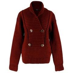 Gucci Burgundy Chunky Knit Sweater - Size Small