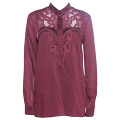 Gucci Burgundy Cotton Lace Trim Long Sleeve Blouse M