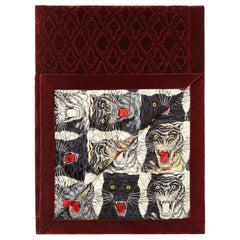 Gucci Burgundy Cream Black Quilted Tigers Men's Women's Quilt Throw Blanket