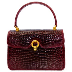 Gucci Burgundy Crocodile Handbag