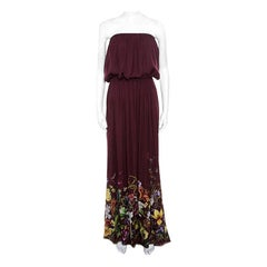 Gucci Burgundy Floral Printed Silk Tie Detail Strapless Maxi Dress M