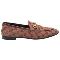 Gucci Burgundy GG Canvas Horsebit Loafers