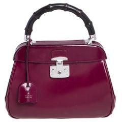 Gucci Burgundy Glossy Leather Medium Lady Lock Top Handle Bag