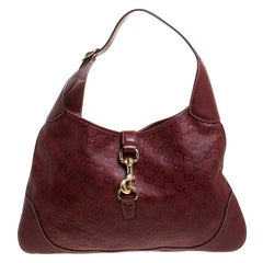 Gucci Burgundy Guccissima Leather Medium Jackie O Hobo
