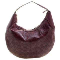 Gucci Burgundy Horsebit Embossed Leather Buckle Hobo