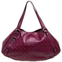 Gucci Burgundy Horsebit Embossed Leather Medium Abbey Shoulder Bag
