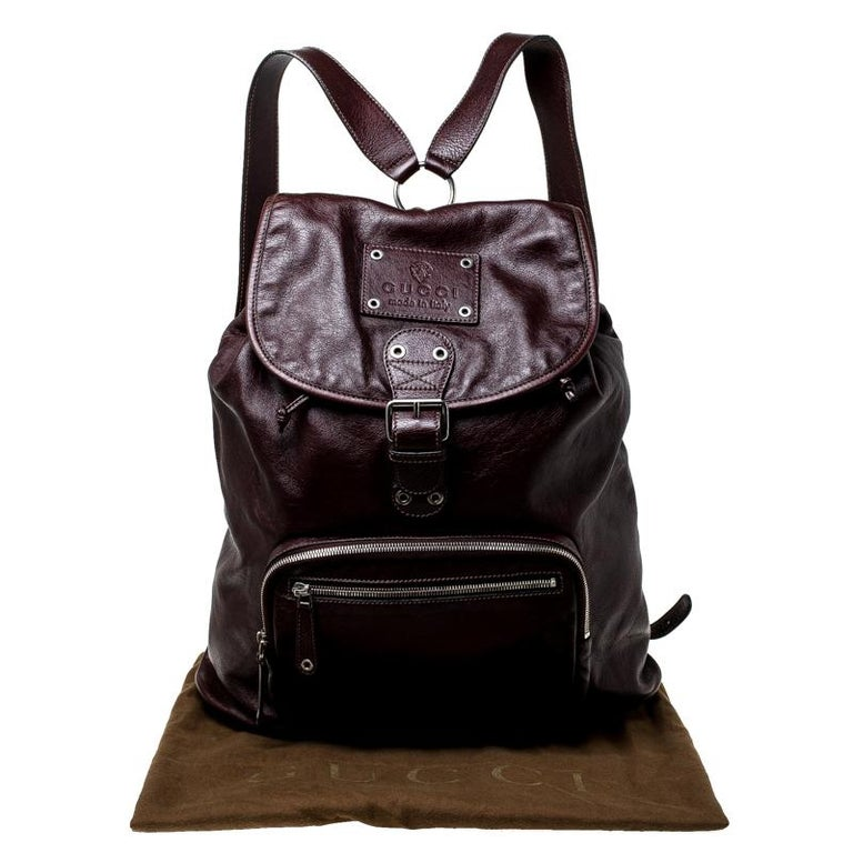 Gucci Burgundy Leather Backpack For Sale 8