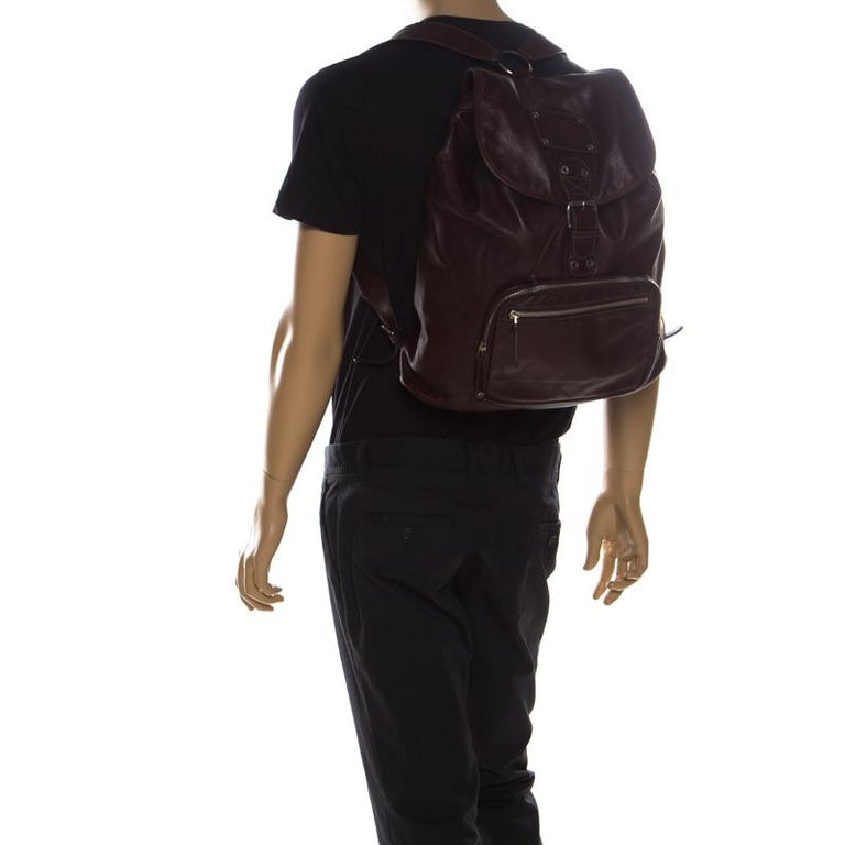 Black Gucci Burgundy Leather Backpack For Sale