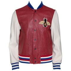 Gucci Burgundy Leather 'Blind for Love' Varsity Bomber Jacket L