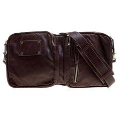 Gucci Burgundy Leather Fanny Pack Double Waist Belt Bag