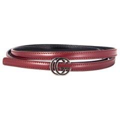 GUCCI burgundy leather GG BUCKLE THIN BELT 85