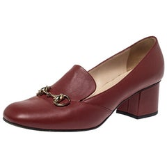 Gucci Burgundy Leather Horsebit Block Heel Loafer Pumps Size 39