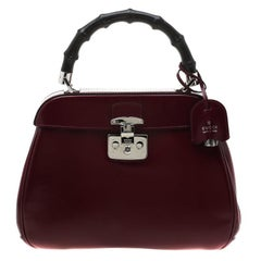 Gucci Burgundy Leather Lady Lock Bamboo Top Handle Bag