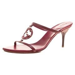 Gucci Burgundy Leather Studded GG Interlocking Slides Sandals Size 38.5