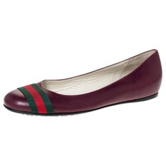 Gucci Burgundy Leather Web Detail Ballet Flats Size 38