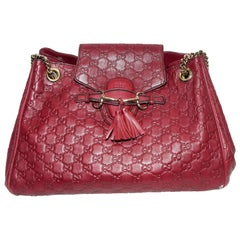 Gucci Burgundy Monogram Embossed Leather Shoulder Bag