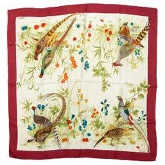 Gucci Burgundy & Multicolor Pheasant Print Silk Scarf