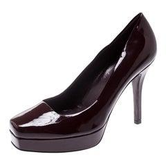 Gucci Burgundy Patent Leather Tile Square Toe Platform Pumps Size 36