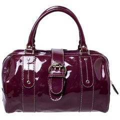 Gucci Burgundy Patent Leather Vanity Bowler Bag