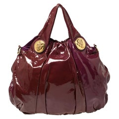 Gucci Burgundy/Purple Patent Leather Large Hysteria Hobo